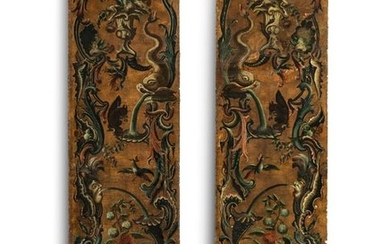Two rococo leather wallpaper panels. 18th century. 278...
