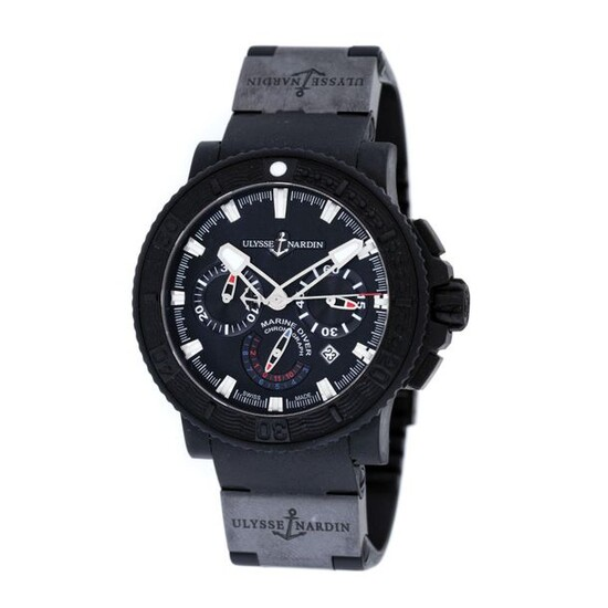 Ulysse Nardin Diver Marine Black Sea wristwatch, men, provenance documents, silicone, d=50 mm / Men's silicone Ulysse Nardin Diver Marine Black Sea wristwatch, reference 353-92, automatic movement, glazed back. Black dial, three registers and date...