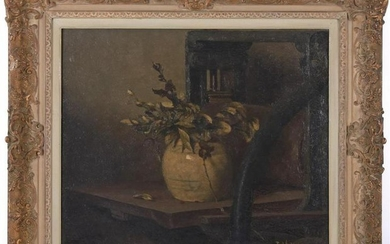 Unclearly signed, Still life with ginger jar, canvas