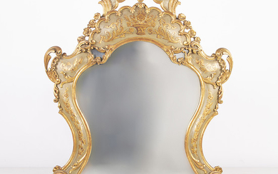 Venetian Rococo-style mirror in carved, polychrome and gilt wood, circa 1940.