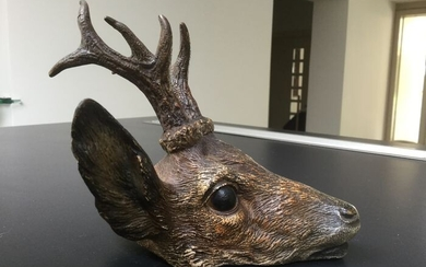 Viennese bronze - deer head (1) - Bronze (cold painted) - Early 20th century