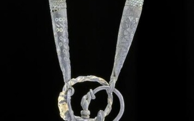Viking Silver, Gilt Silver, & Quartz Necklace - 151.1 g