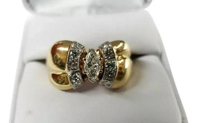 Vintage 14K Yellow Gold 1/2 Carat Diamond Ring Size 10