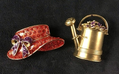 Vintage Red Hat Society Watering Can Brooch