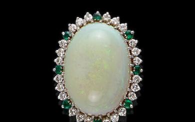 White Opal, Emerald and Diamond Ring