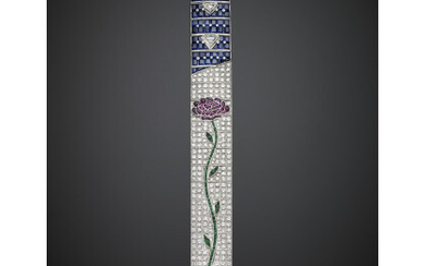 White gold band bracelet with a ruby and emerald floral...