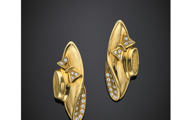 *Yellow gold diamond hat pendant earrings with diamonds in all...