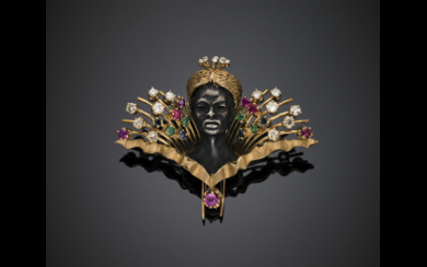 Silver and gold blackamoor with turban brooch accented with...