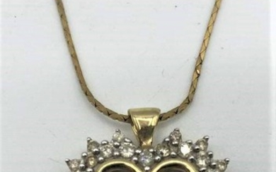 14 K YELLOW GOLD DIAMONDS HEART PENDANT And CHAIN
