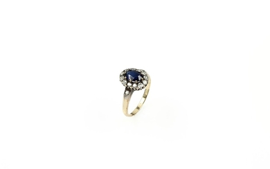 14 kt gold ring with sapphire and...