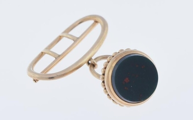 14K Watch Fob Set With Blood Stone
