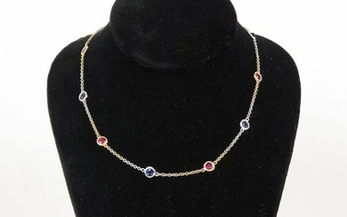 Yellow Gold Sapphire & Ruby Necklace, RA7A