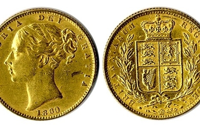 1860 sovereign, large '0' in date, VF/GVF.