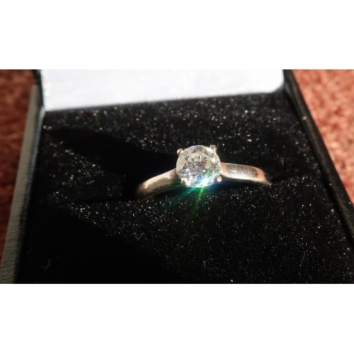 18ct white gold diamond solitaire ring with .55 carat stone ...