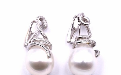 18k White gold Diamond and Pearl Swirl Drop Earrings