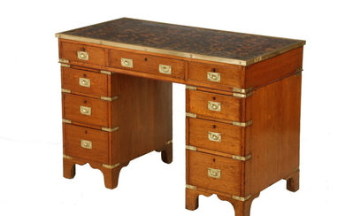 19TH C. THREE PART BRASS BOUND CAMPAIGN DESK