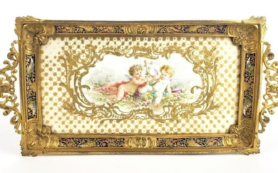 19th C. French Champleve Enamel & Gilt Bronze Tray