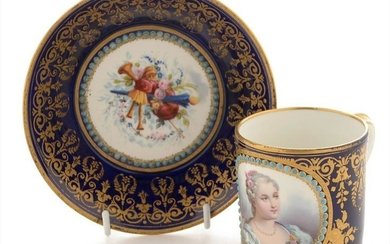 19th Century Sevres coffee can and saucer.