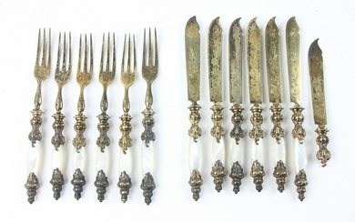 19thC Silver and Vermeil Fruit Set