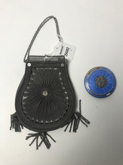 19thC Victorian Purse and Enameled Compact