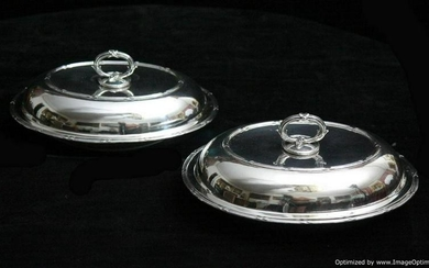 2 GEORGIAN ANTIQUE STERLING SILVER COVERED VEGETABLE