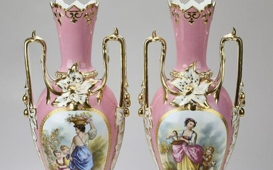 "(2) Hand painted Sevres style pink ground vases, 21""h"