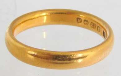 22ct Yellow Gold Wedding Band. Size N (14). Hallmarked...