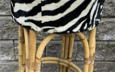 3 Contemporary Faux Bamboo & Zebra Bar Stools