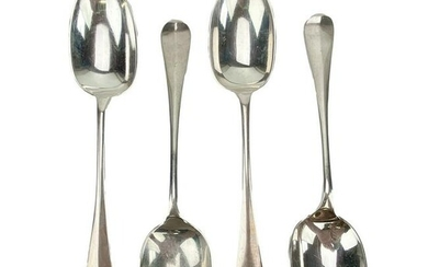 4 English Sterling Silver Rattail Spoons Set 362g