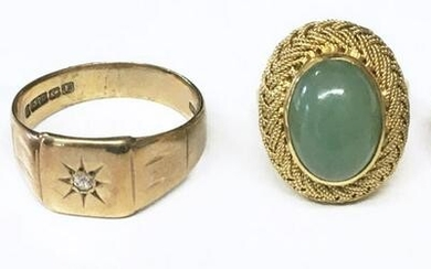 4 VINTAGE RINGS , 3- 14KT YELLOW GOLD & 1 10KT APPROX.