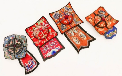 4pc Chinese 19th Cent. Silk Embroidered Square Hats