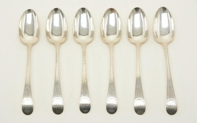 6 Colonial American coin silver Tablespoons by Joseph &