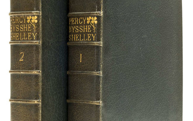 Doves Bindery.- Shelley (Percy Bysshe) Poetical Works, 2 vol., bound in crushed blue morocco, by T.J.Cobden-Sanderson at the Doves Bindery and signed & dated by him in ink, 1892.