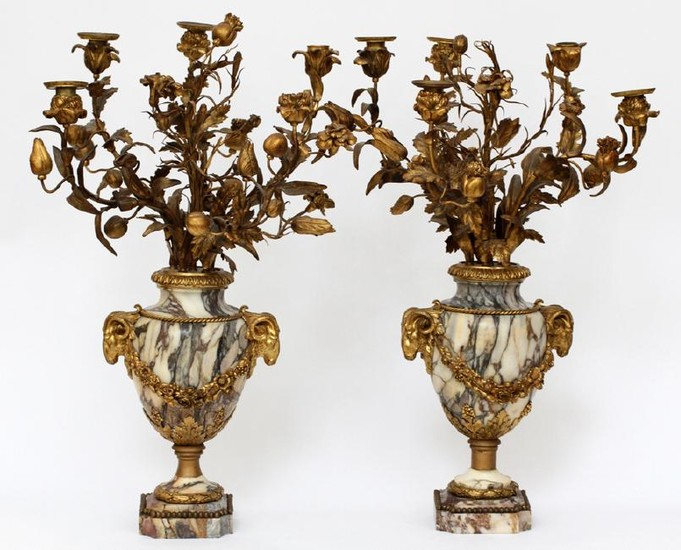 FRENCH BRONZE & MARBLE CANDELABRAS, PAIR
