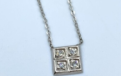 9ct white gold and diamond necklace having a square pendant ...