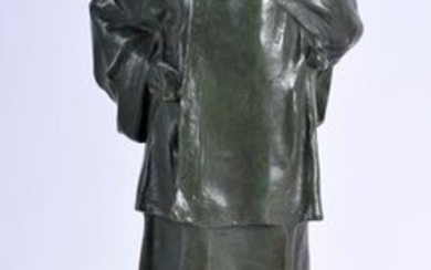 A 1920S BRONZE FIGURE OF A MOTHER AND CHILD By Charles
