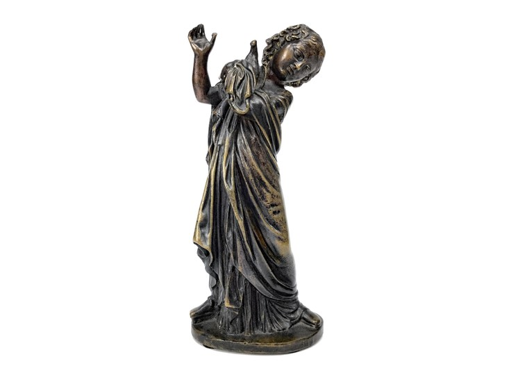 A 19TH CENTURY BRONZE FIGURE OF A GIRL AND