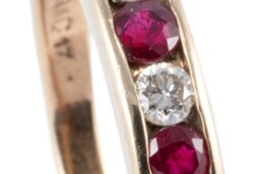 A 9CT GOLD RUBY AND DIAMOND RING; channel set with 4 round cut rubies and 3 round brilliant cut diamonds, size N, wt. 2.14g.