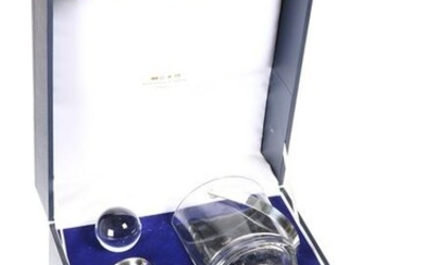 A CASED SILVER MOUNTED GLASS DRINKS SET, by Carrs of