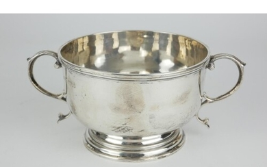 A CHESTER SILVER TWIN HANDLED BOWL Plain circular form with ...