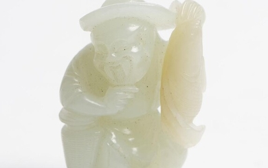 A CHINESE PALE CELADON JADE CARVING OF A FISHERMAN QING DYNASTY (1644-1912), CIRCA 19TH CENTURY