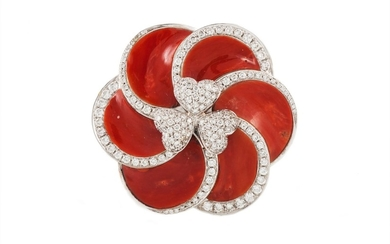 A CORAL AND DIAMOND SWIRL BROOCH/ PENDANT, signed 'Andreoli'...