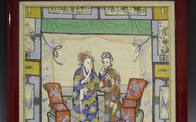 A Chinese watercolour painting on silk, late Qing dynasty, depicting two standing figures in an inte