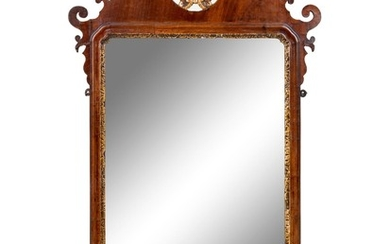 A Chippendale Style Carved and Parcel Gilt Mahogany Veneered Looking Glass