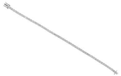 A DIAMOND LINE BRACELET IN 18CT WHITE GOLD, COMPRISING FIFTY THREE ROUND BRILLIANT CUT DIAMOND TOTALLING 6.64CTS, LENGTH 180MM, 15GMS