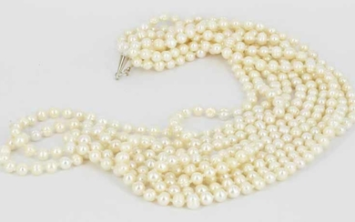 A FIVE STRAND FRESHWATER PEARLS NECKLACE