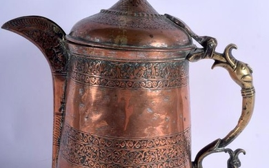 A LARGE 19TH CENTURY MIDDLE EASTERN COPPER JUG