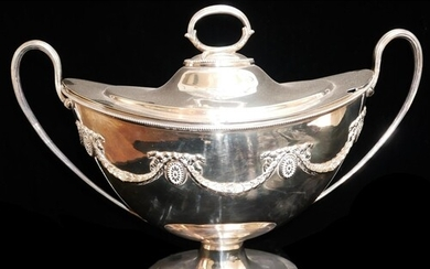 A LARGE VICTORIAN SILVER PLATED OVAL NAVETTE FORM SOUP TUREE...