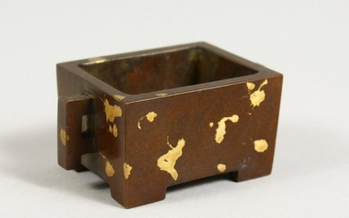 A MINIATURE BRONZE GOLD SPLASH RECTANGULAR CENSER.