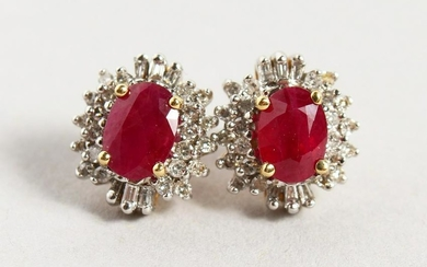 A PAIR OF 14CT YELLOW GOLD, RUBY AND DIAMOND CLUSTER